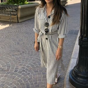 Zara linen stripe dress XS
